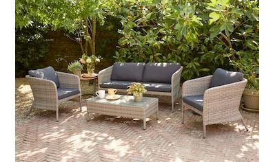 SIENA GARDEN Loungeset »Moreno«, 12 - tlg., 2er Sofa, 2 Sessel, Tisch 46x95 cm, Alu/Polyrattan kaufen