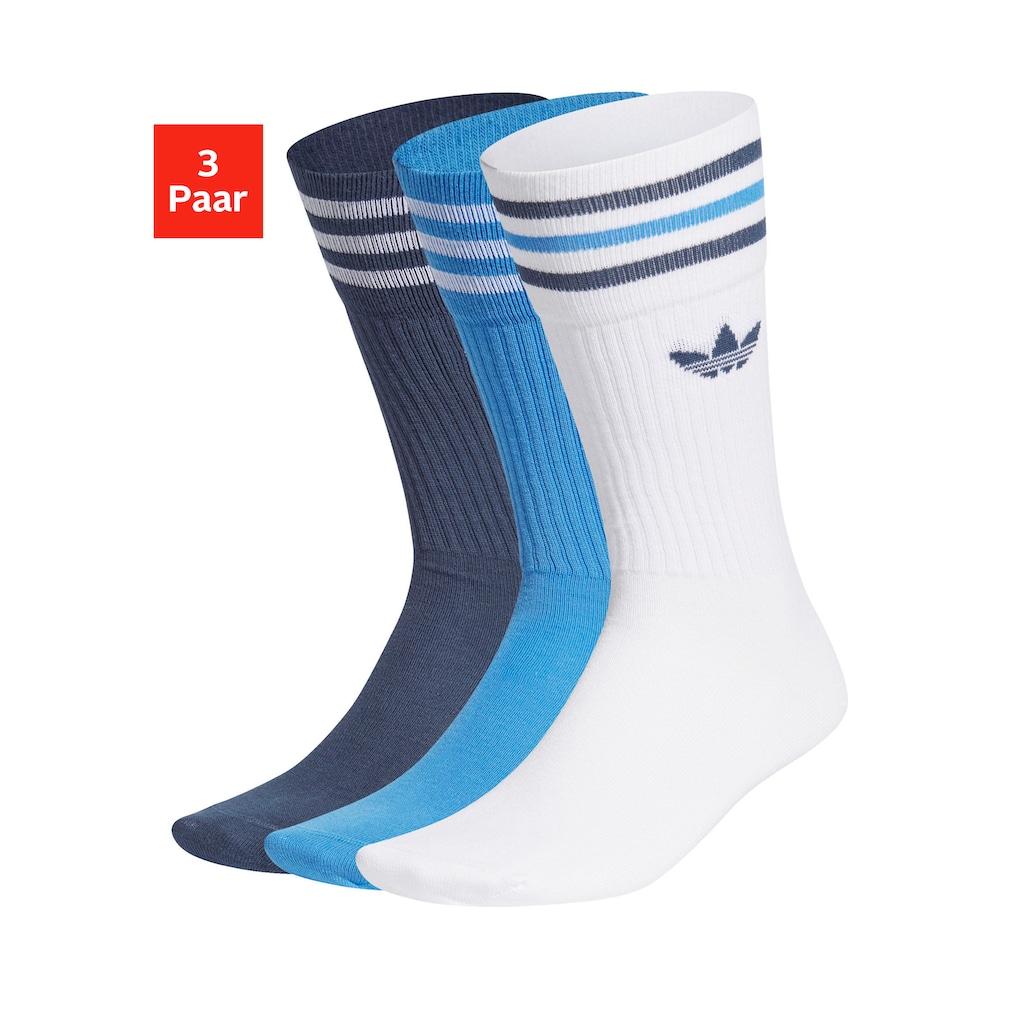 adidas Originals Socken »Crew«, (3 Paar), mit klassischem Label und Streifen