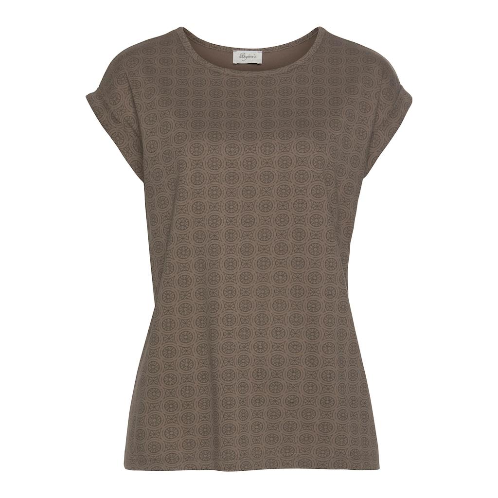 Boysen's Rundhalsshirt, Boysen's T-Shirt mit überschnittenen Schultern & all over Druck