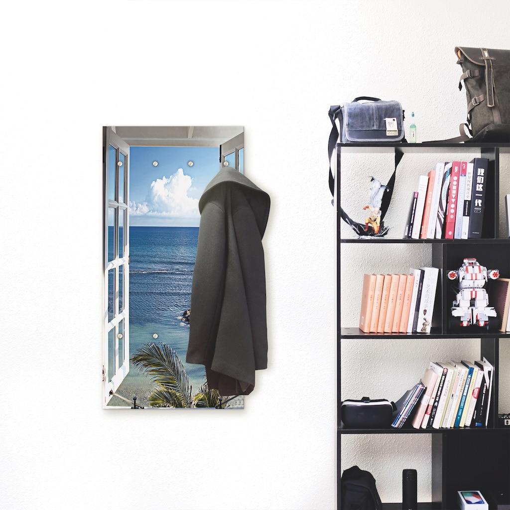 Artland Garderobe »Fenster zum Paradies«, platzsparende Wandgarderobe aus Holz mit 6 Haken, geeignet für kleinen, schmalen Flur, Flurgarderobe