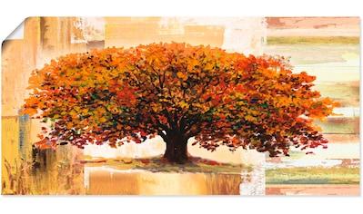 Artland Wandbild »Herbstbaum auf abstraktem Hintergrund«, Bäume, (1 St.), in vielen Größen & Produktarten - Alubild / Outdoorbild für den Außenbereich, Leinwandbild, Poster, Wandaufkleber / Wandtattoo auch für Badezimmer geeignet kaufen
