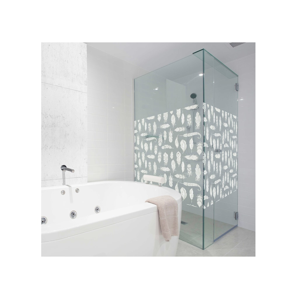 MySpotti Fensterfolie »Look Feathers white«, halbtransparent, glattstatisch haftend, 90 x 100 cm, statisch haftend