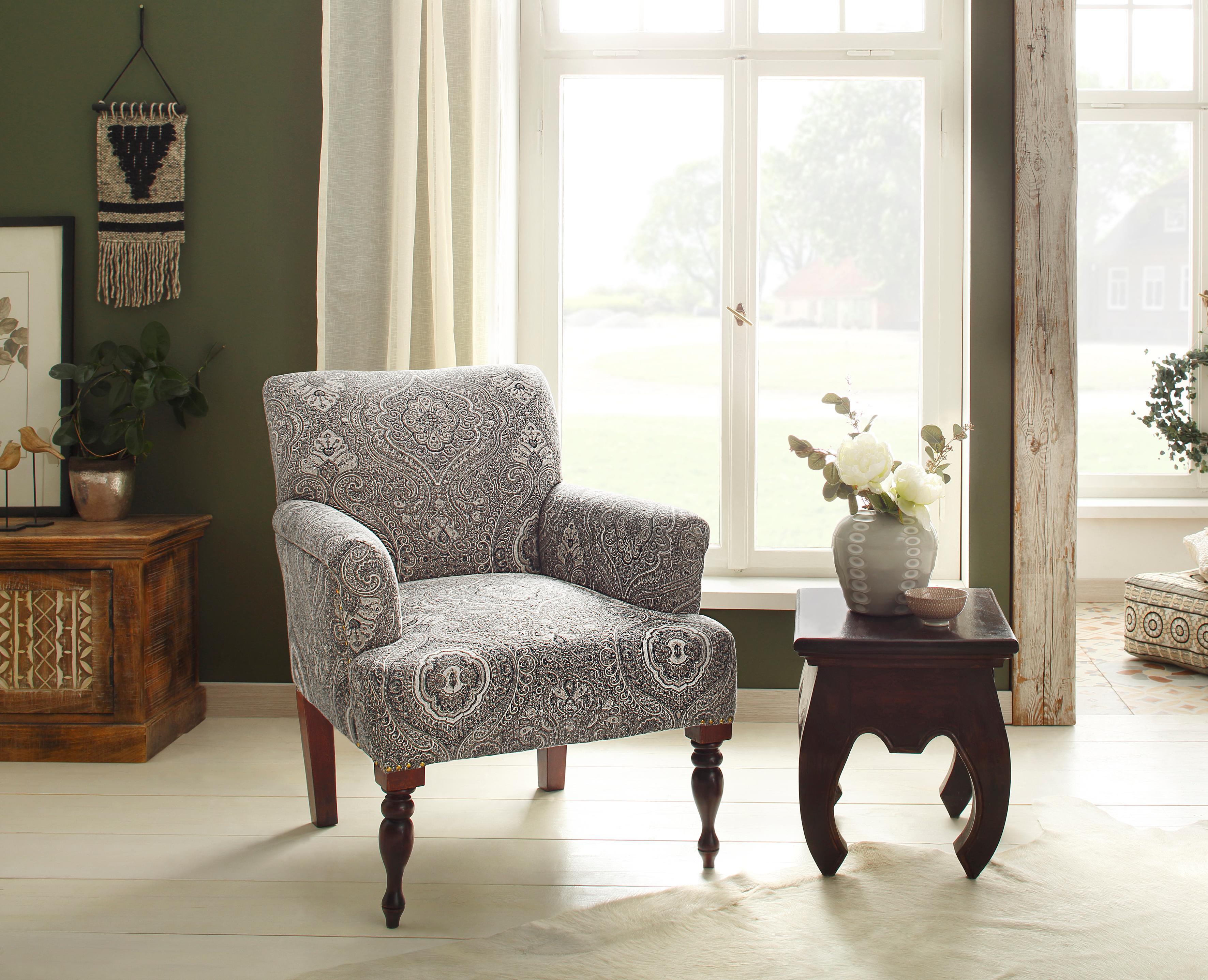 Home affaire Sessel Jamal aus schönem Webstoff in beeindruckender Farbvariation mit schönen Stickereien Sitzhöhe 45 cm