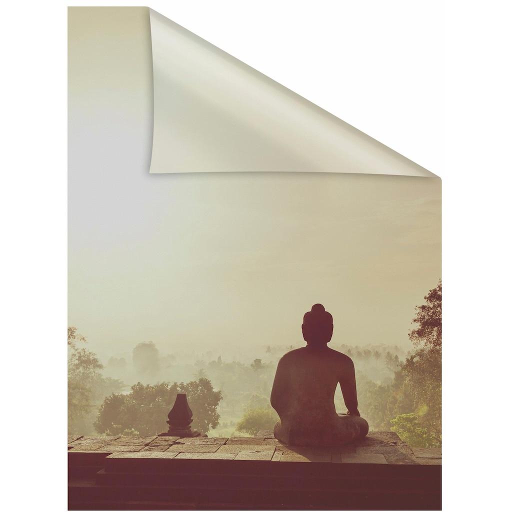 LICHTBLICK ORIGINAL Fensterfolie »Tempel Borobudur«, 1 St., blickdicht, strukturiertKlebepunkte, selbstklebend, Sichtschutz
