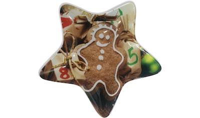 Servierteller, (Set), Glasteller in Sternform mit buntem Lebkuchendesign kaufen