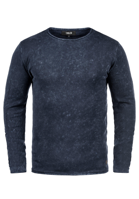 Solid Rundhalspullover Kirisaku | Bekleidung > Pullover > Rundhalspullover | Blau | Solid