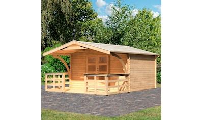 WOODFEELING Set: Gartenhaus »Bayreuth 5«, BxT: 406x472 cm, mit Vordach und Terrasse kaufen