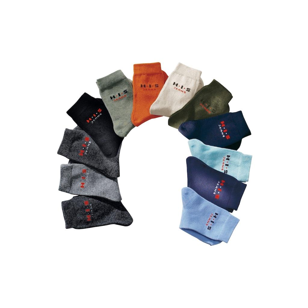 H.I.S Basicsocken, (4 Paar), mit kontrasfarbenem Logo