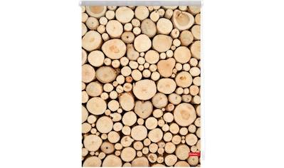 LICHTBLICK Seitenzugrollo »Rollo Klemmfix, ohne Bohren, Verdunkelung, Holzstapel - Braun«, verdunkelnd, Verdunkelung, freihängend kaufen