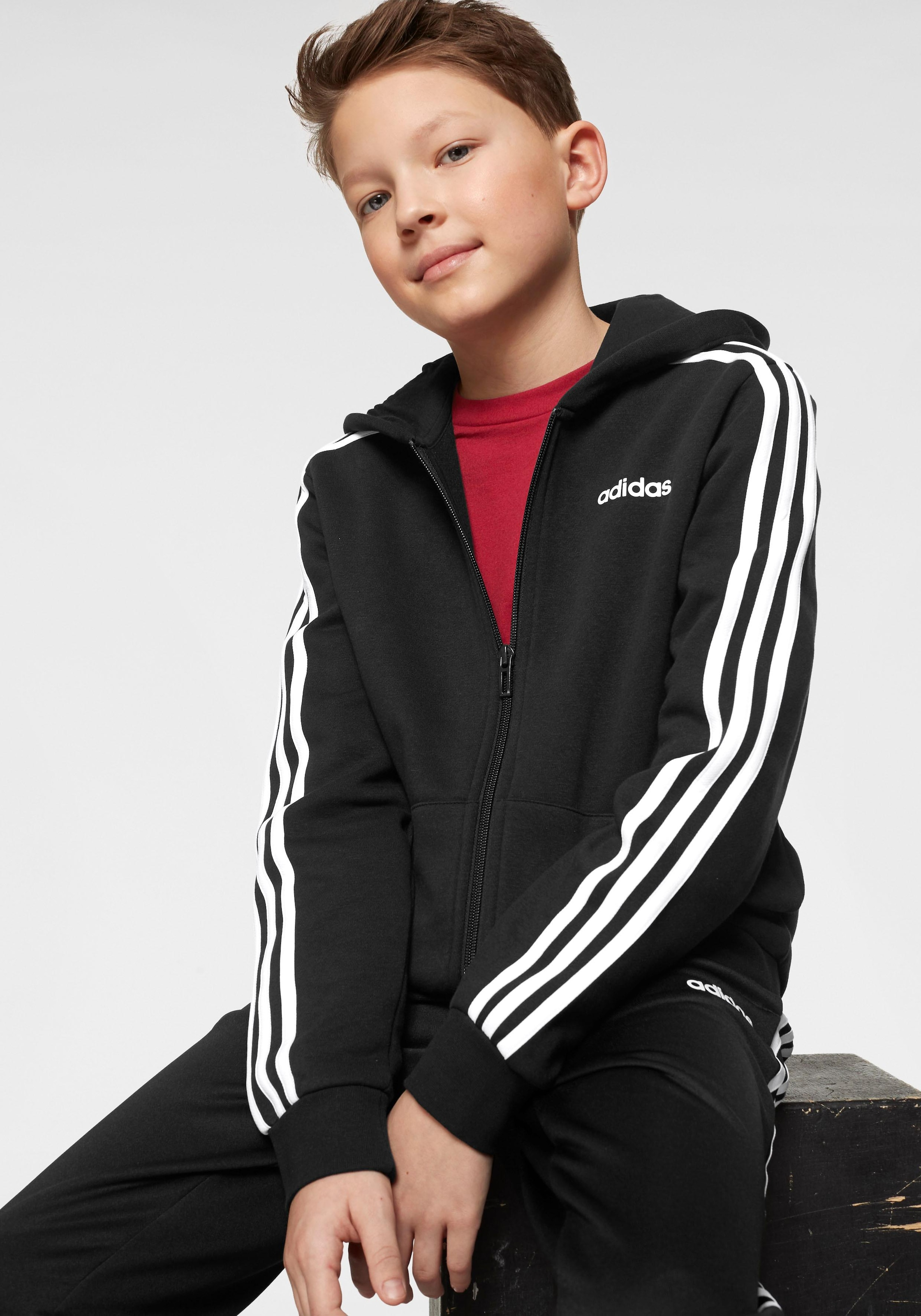 adidas Kapuzensweatjacke YOUNG BOY ESSENTIAL 3 STRIPES FULLZIP HOODY | 04060515284407