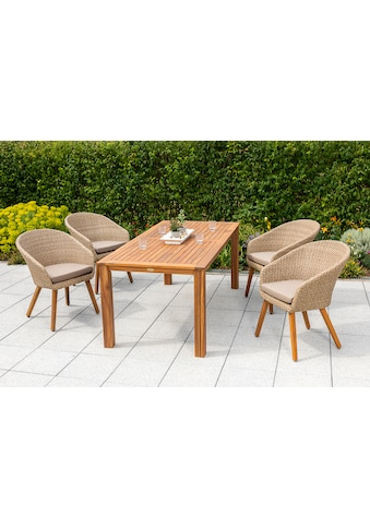 MERXX Gartenmöbelset »Arrone«, (5 tlg.), 4 Sessel mit Kissen, Tisch kaufen