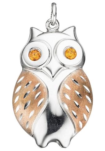 JOBO Kettenanhänger »Eule«, 925 Silber bicolor mit Zirkonia kaufen