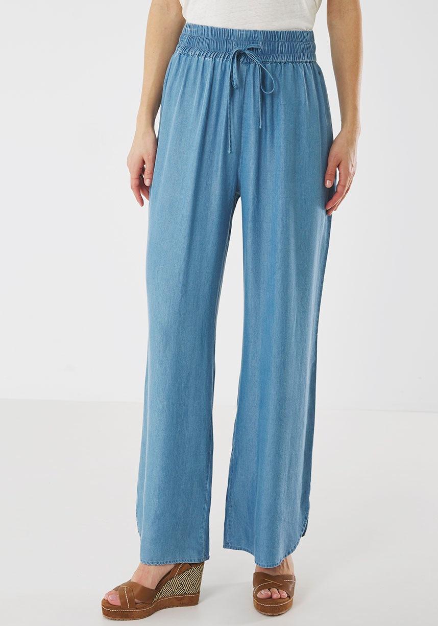 Mexx Palazzohose, mit breitem, elastischem Bund blau Damen Weite Hosen Palazzohose