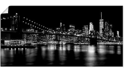 Artland Wandbild »Manhattan Skyline & Brroklyn Bridge«, Amerika, (1 St.), in vielen Größen & Produktarten - Alubild / Outdoorbild für den Außenbereich, Leinwandbild, Poster, Wandaufkleber / Wandtattoo auch für Badezimmer geeignet kaufen