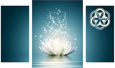 Conni Oberkircher´s Bild »Lotus Flower«, Orchidee, (Set), mit dekorativer Uhr kaufen