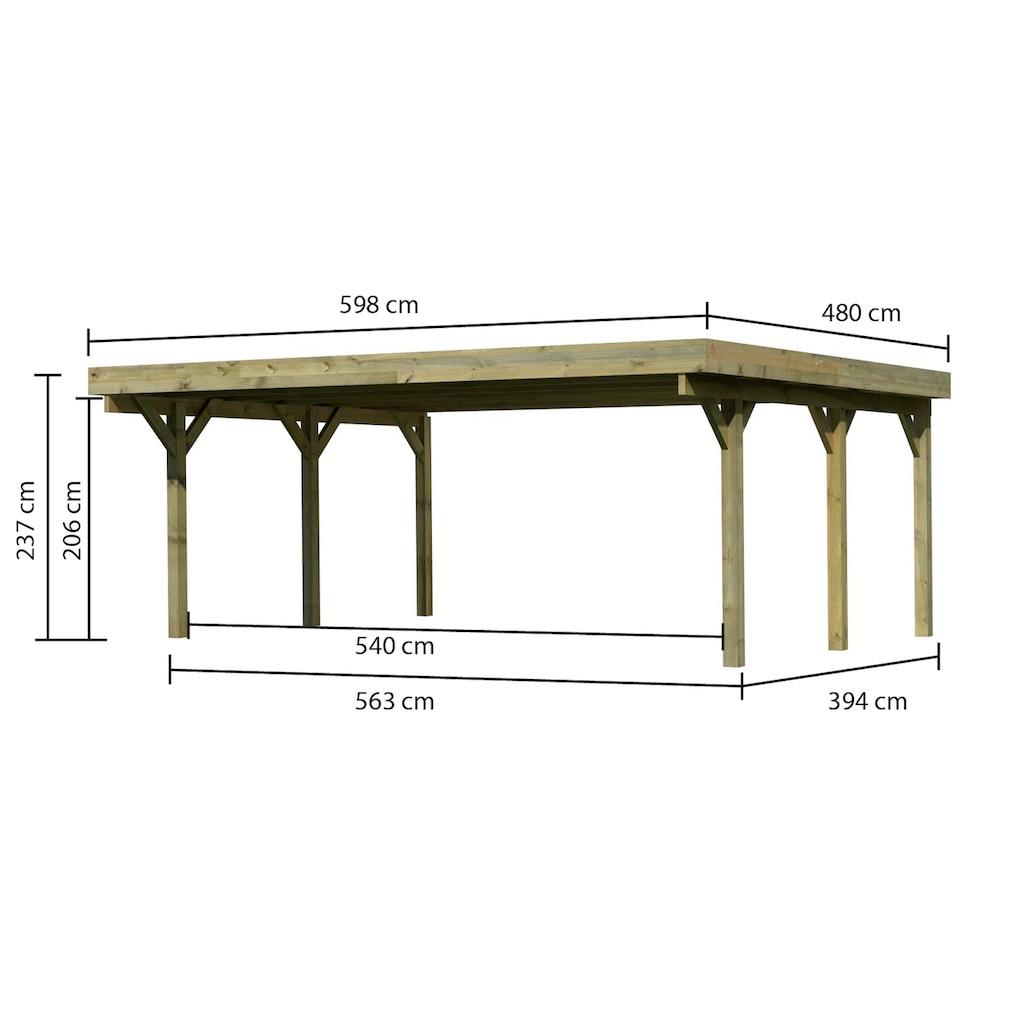 Karibu Doppelcarport »Classic 1«, Holz, 540 cm, braun