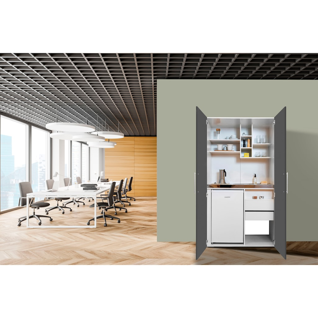 RESPEKTA Miniküche, mit Glaskeramik-Kochfeld und Kühlschrank