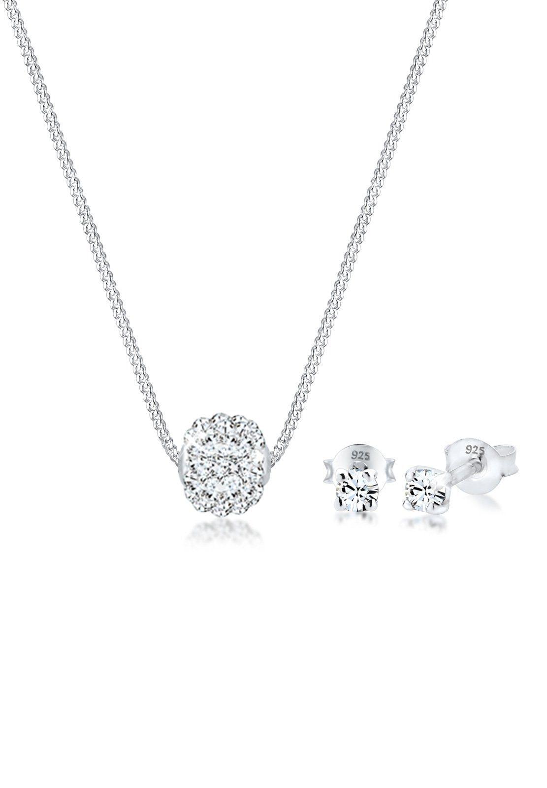 Elli Schmuckset Collier Kugel Swarovski Kristalle 925 Silber | Schmuck > Halsketten > Colliers | Elli