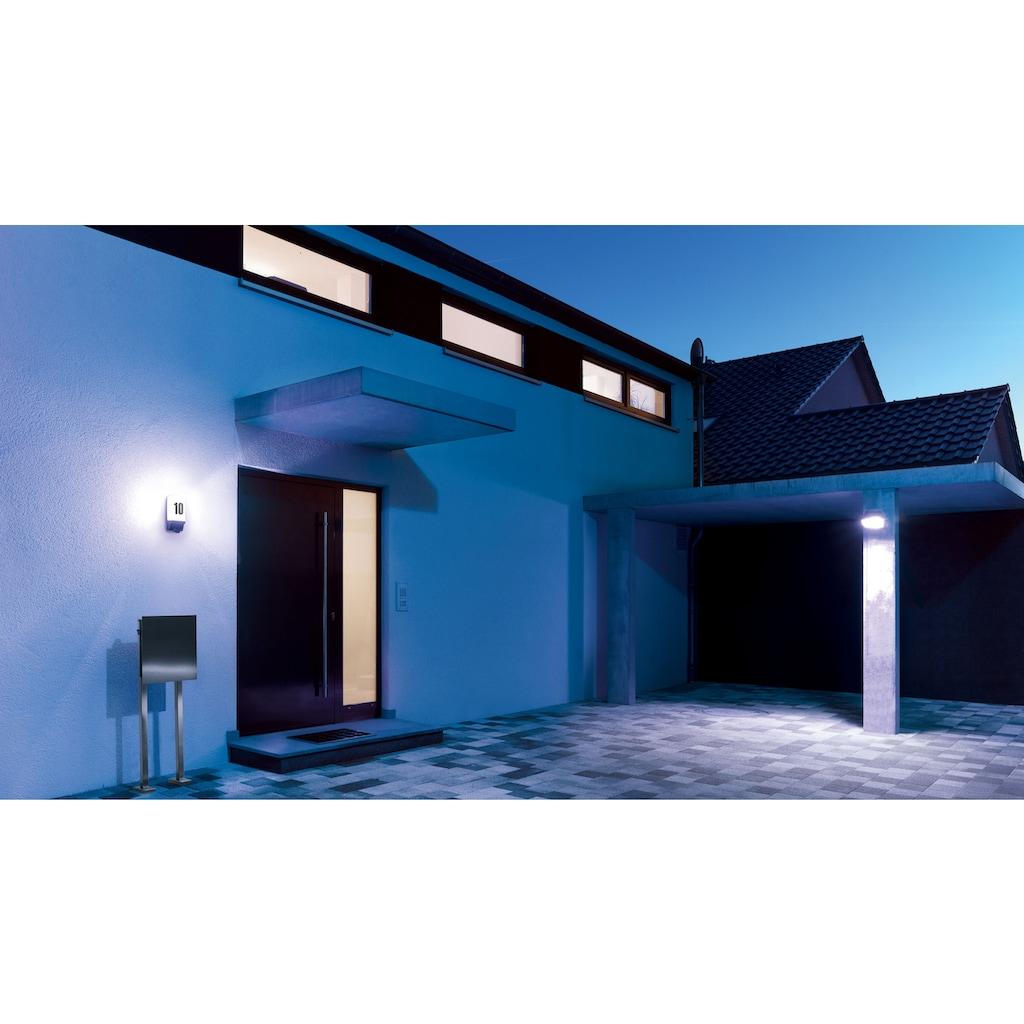 steinel Außen-Wandleuchte »L 1«, E27, 1 St., 180° Erfassungsbereich, max. 10 m Reichweite, Zeiteinstellung von 8 Sek. - 35 Min., Schlagfeste Leuchtenabdeckung nach IK07, regenwassergeschützt