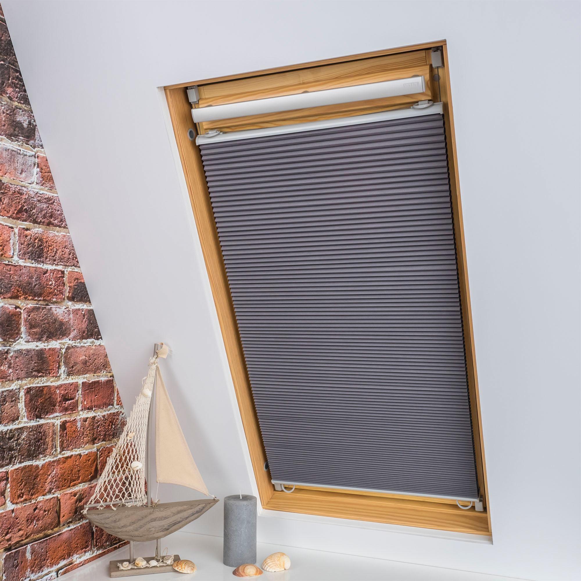 Dachfensterplissee Universal Dachfenster-Plissee Liedeco verdunkelnd ohne Bohren verspannt Wohnen/Wohntextilien/Rollos & Jalousien/Plissees/Dachfensterplissees