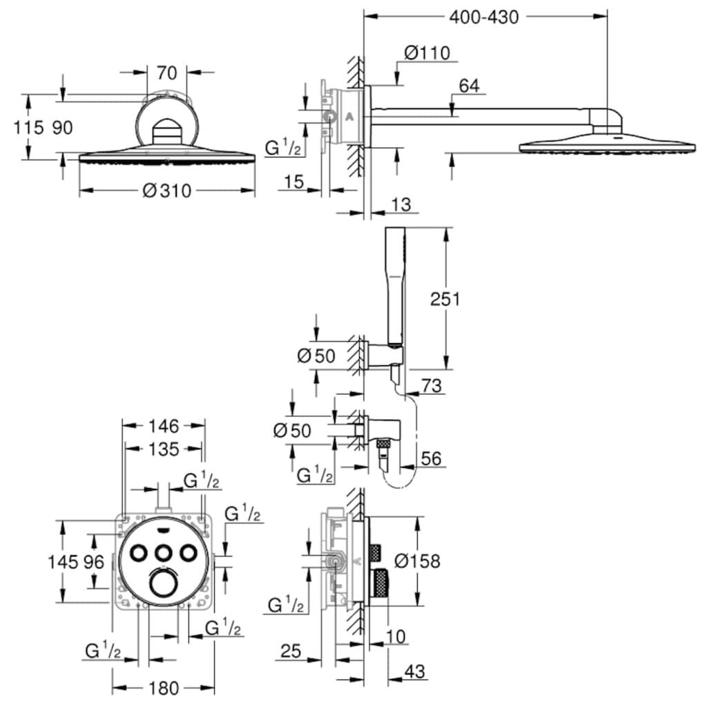 Grohe Unterputzarmatur »Grohtherm Smartcontrol«, mit Rainshower SmartActive 310