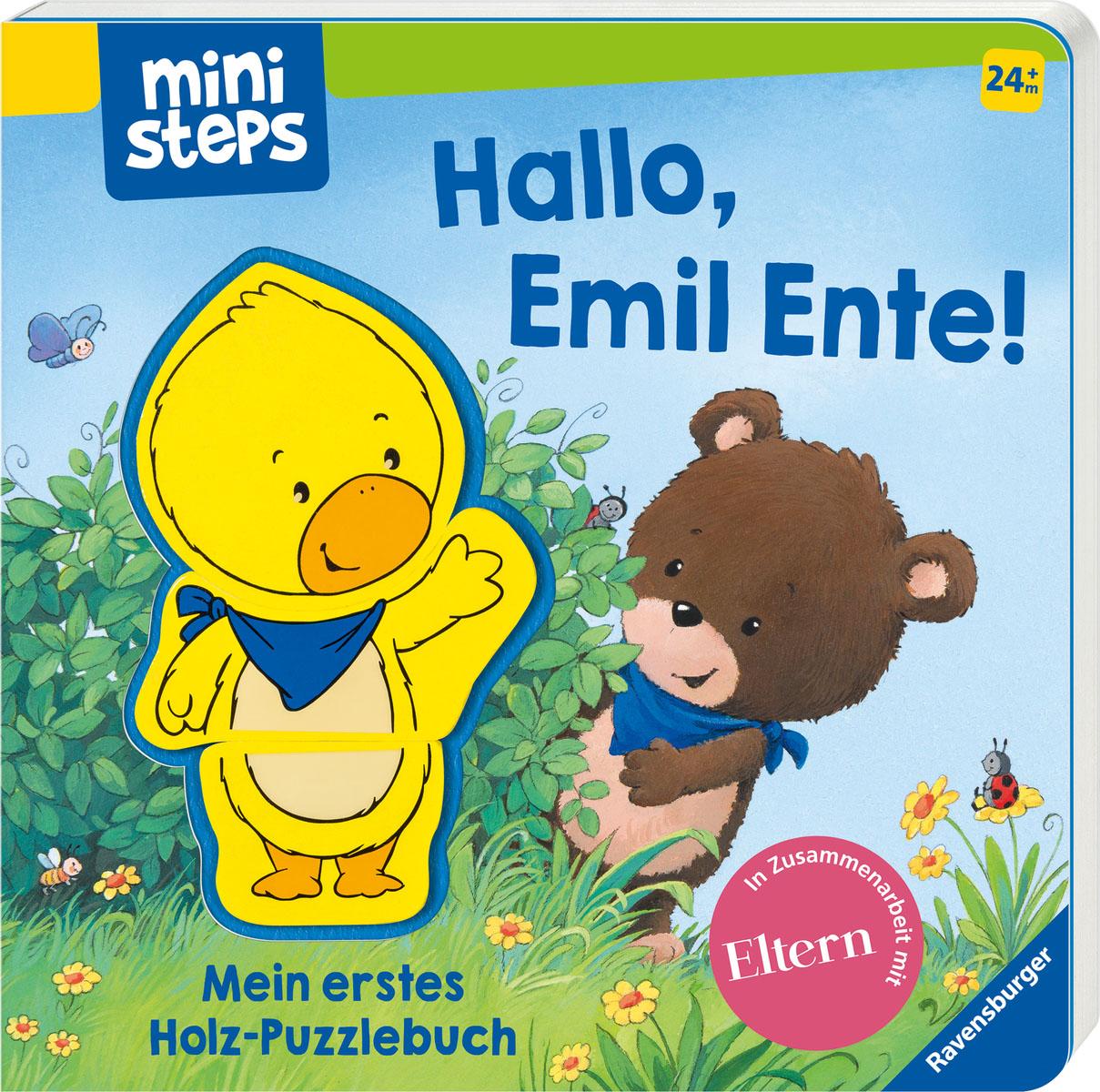 Ravensburger Bilderbuch ministeps, Hallo, Emil Ente Mein erstes Holzpuzzle-Buch, FSC - schützt Wald weltweit bunt