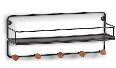 Zeller Present Dekoablage »Wandregal m. Haken, Metall/Holz, schwarz«, (1 St.) kaufen