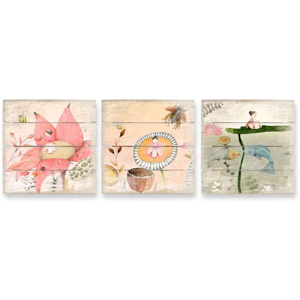 Wall-Art Mehrteilige Bilder »Kinder Märchen Däumelinchen Set«, (Set, 3 St.)