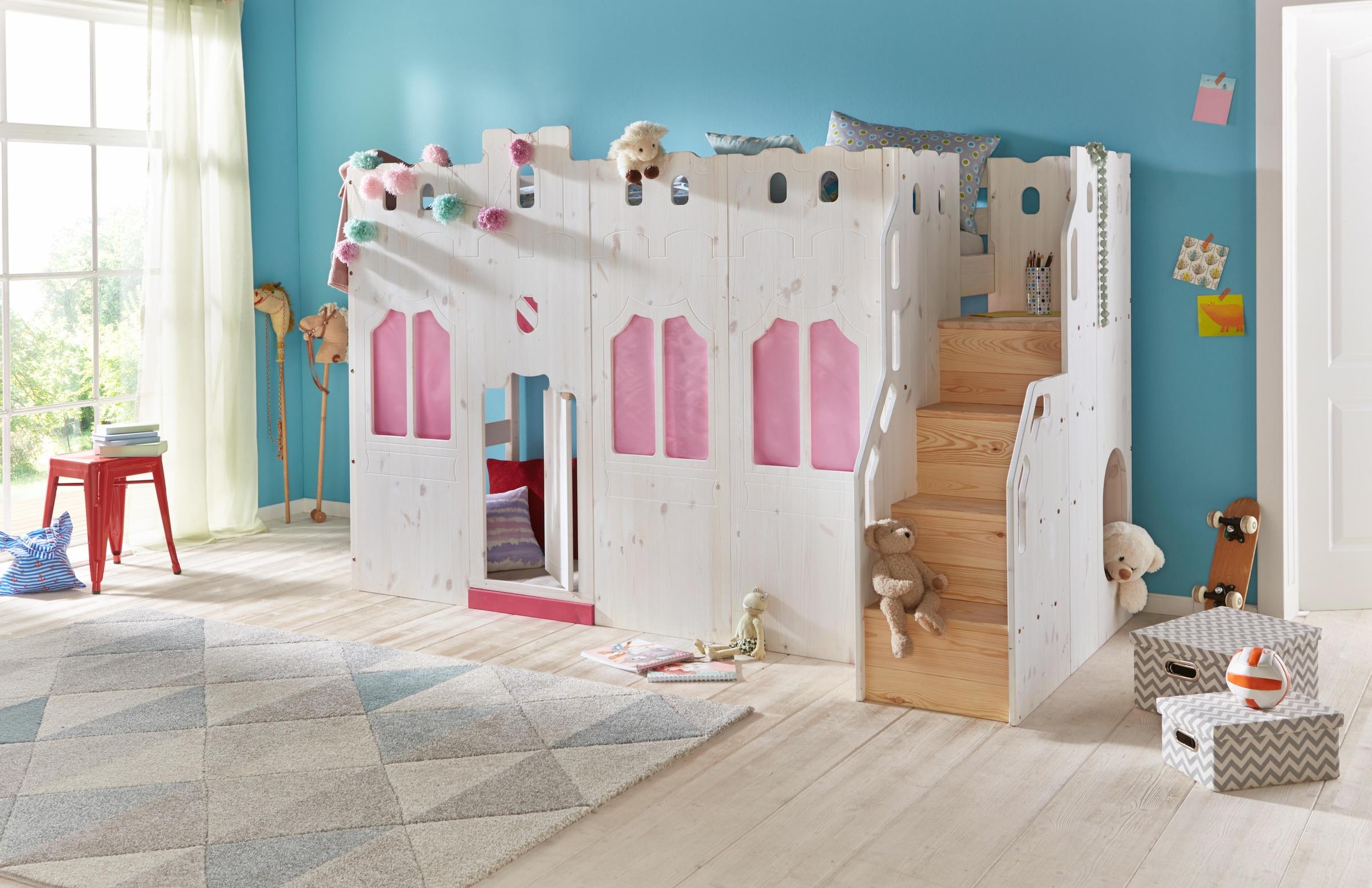Etagenbett Ritterburg : Kinderhochbett als ritterburg aus holz kids paradise