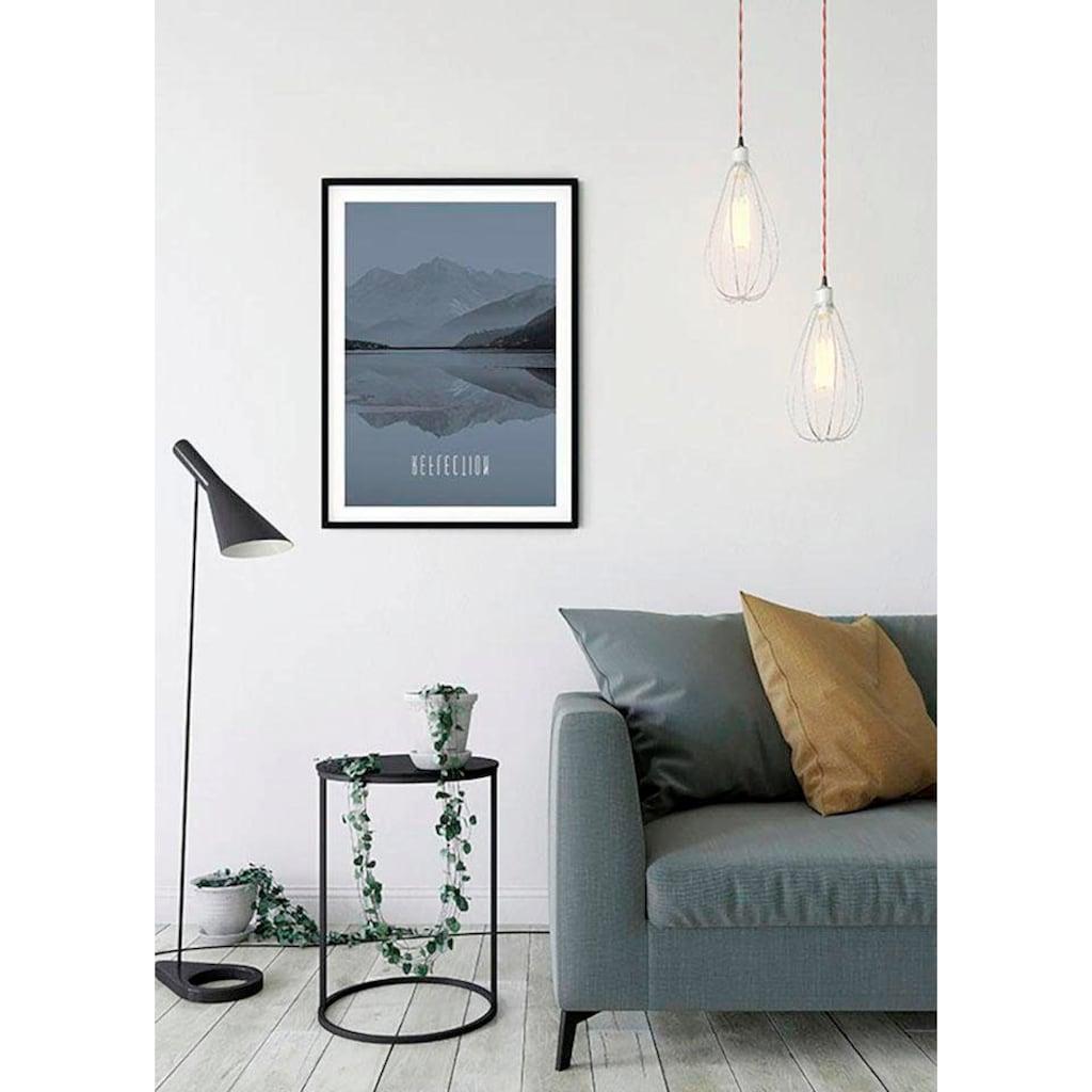 Komar Poster »World Lake Reflection Steel«, Natur, Höhe: 40cm