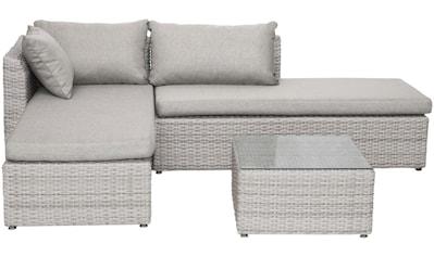 BELLASOLE Loungeset , 8 - tlg., Ecklounge, Tisch 60x60 cm, Polyrattan, cremeweiß kaufen