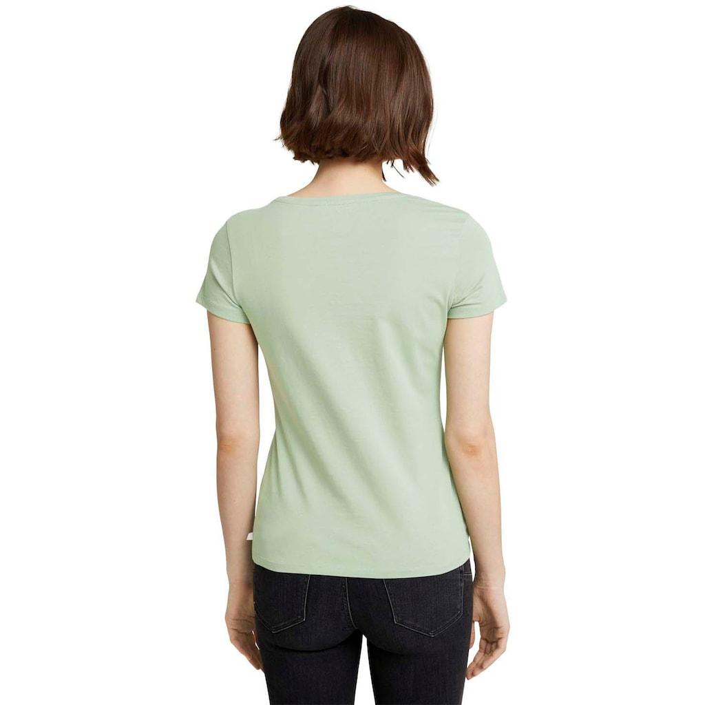 TOM TAILOR Denim Kurzarmshirt, mit großem, runden Logo-Print in Kontrastfarbe