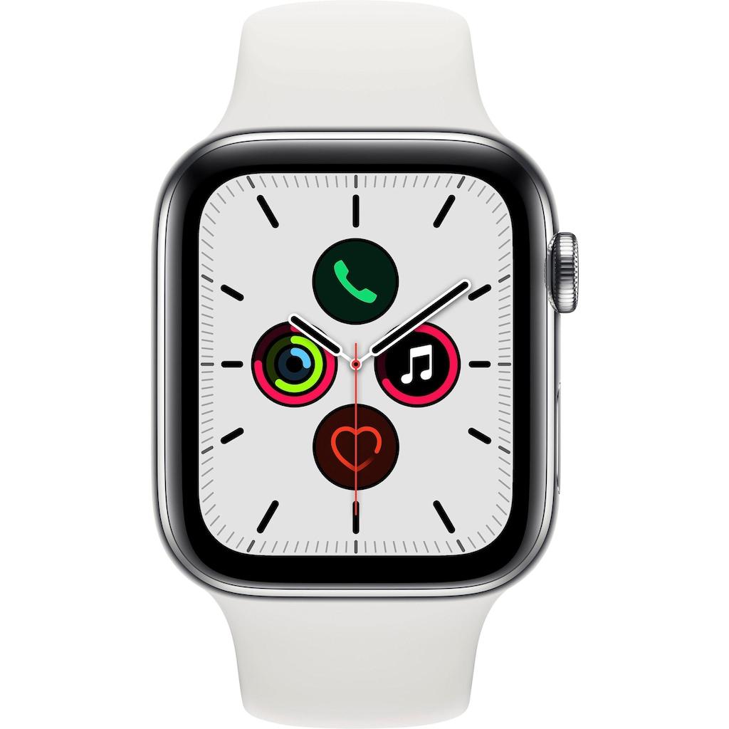 Apple Watch »Series 5 GPS + Cellular, Edelstahlgehäuse mit Sportarmband 44mm« (, Watch OS 6, inkl. Ladestation (magnetisches Ladekabel)