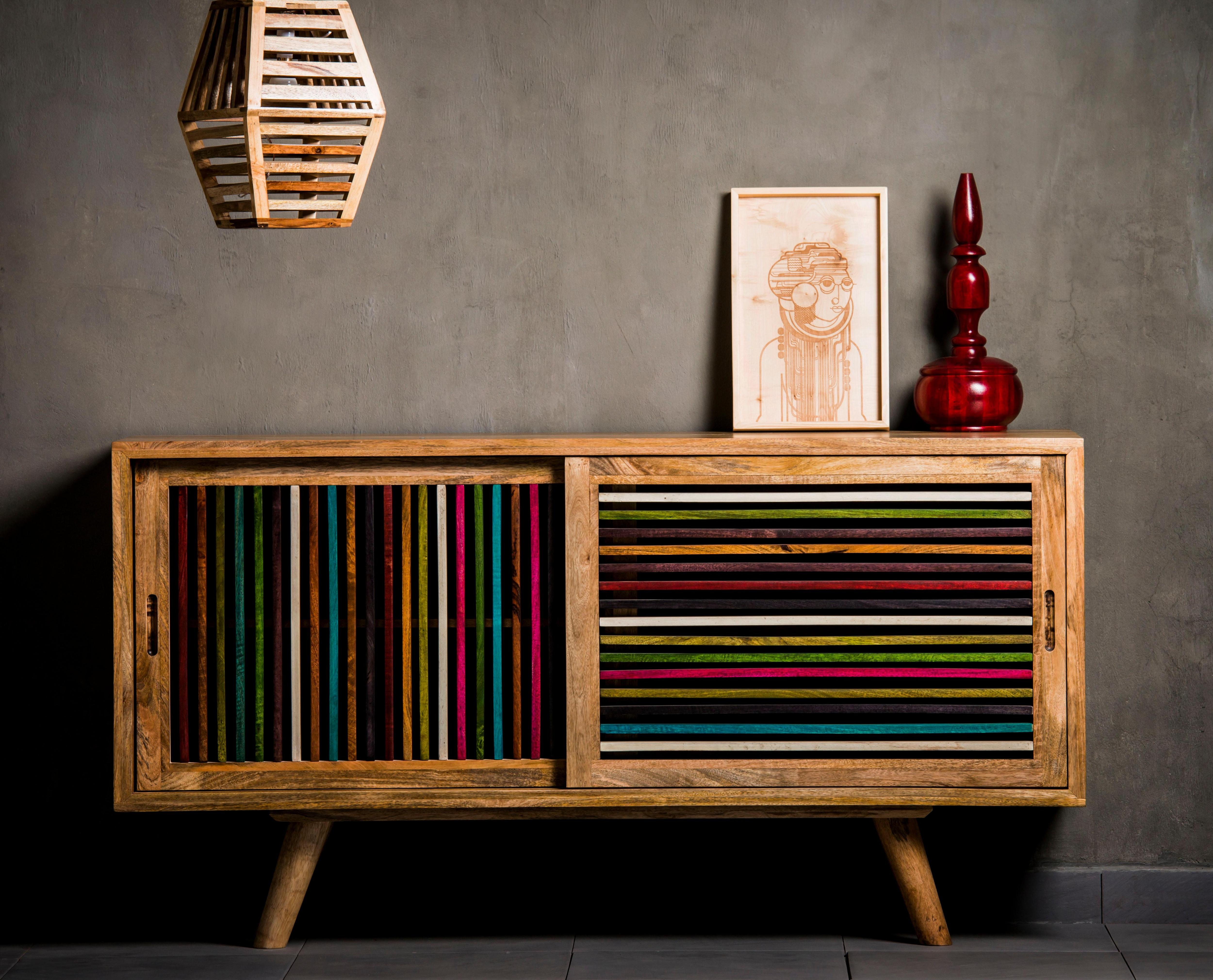 Home affaire Sideboard Joe Breite 160 cm mit farbigen Holzleisten in den Fronten