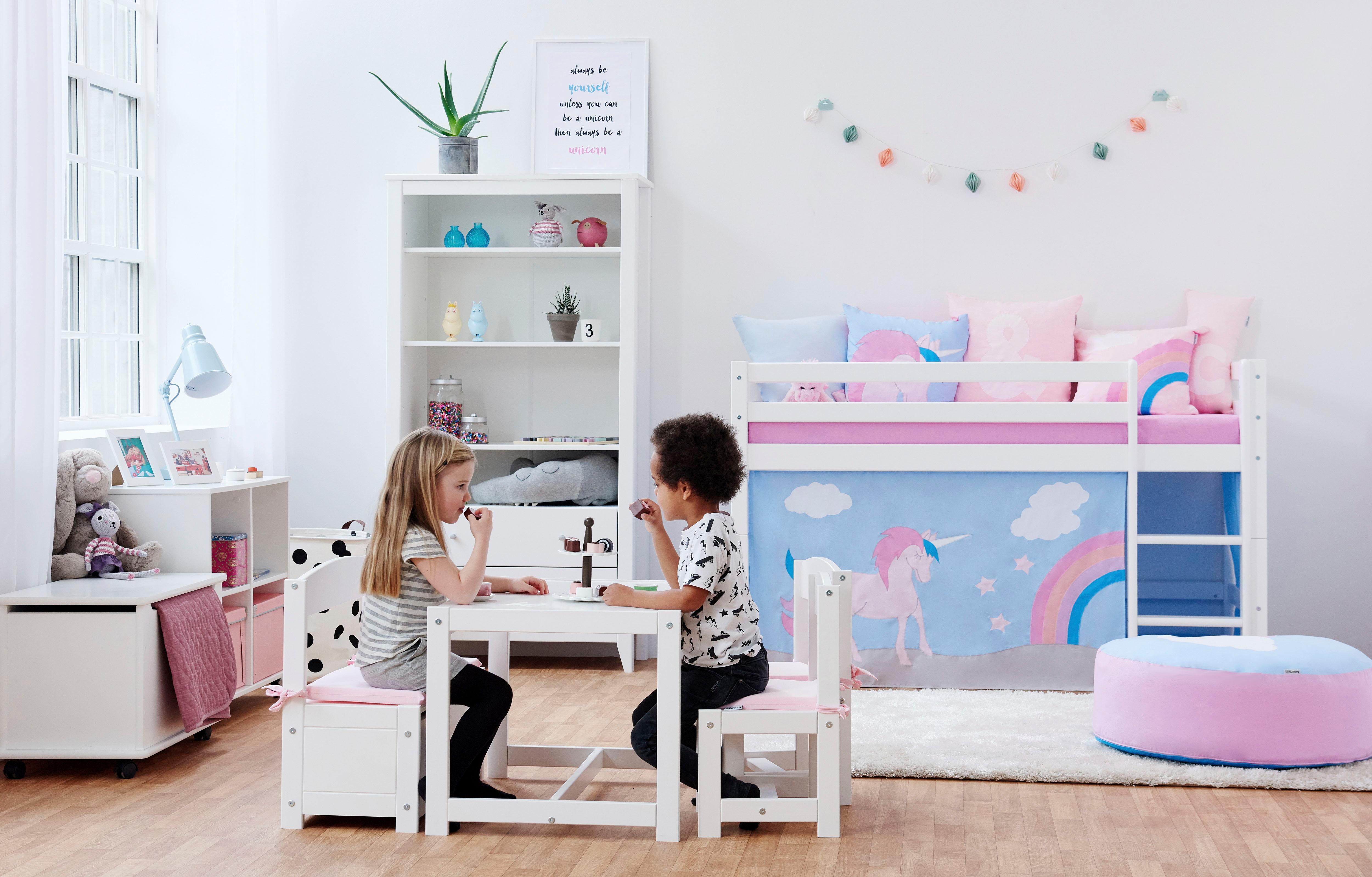 Hoppekids Hochbett Einhorn inkl Vorhang-Set Matratze und Rollrost