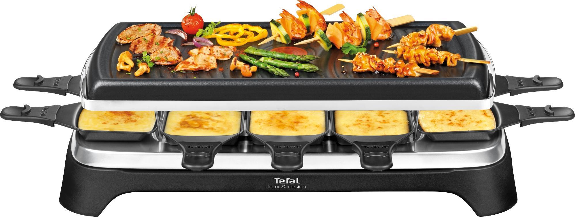 Tefal Raclette RE4588 10 Raclettepfännchen 1350 Watt   Küche und Esszimmer > Küchengeräte > Raclette   Schwarz   Tefal
