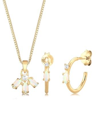 Elli Schmuckset »Box Chain Kette Creolen Opal Zirkonia 925 Silber« kaufen