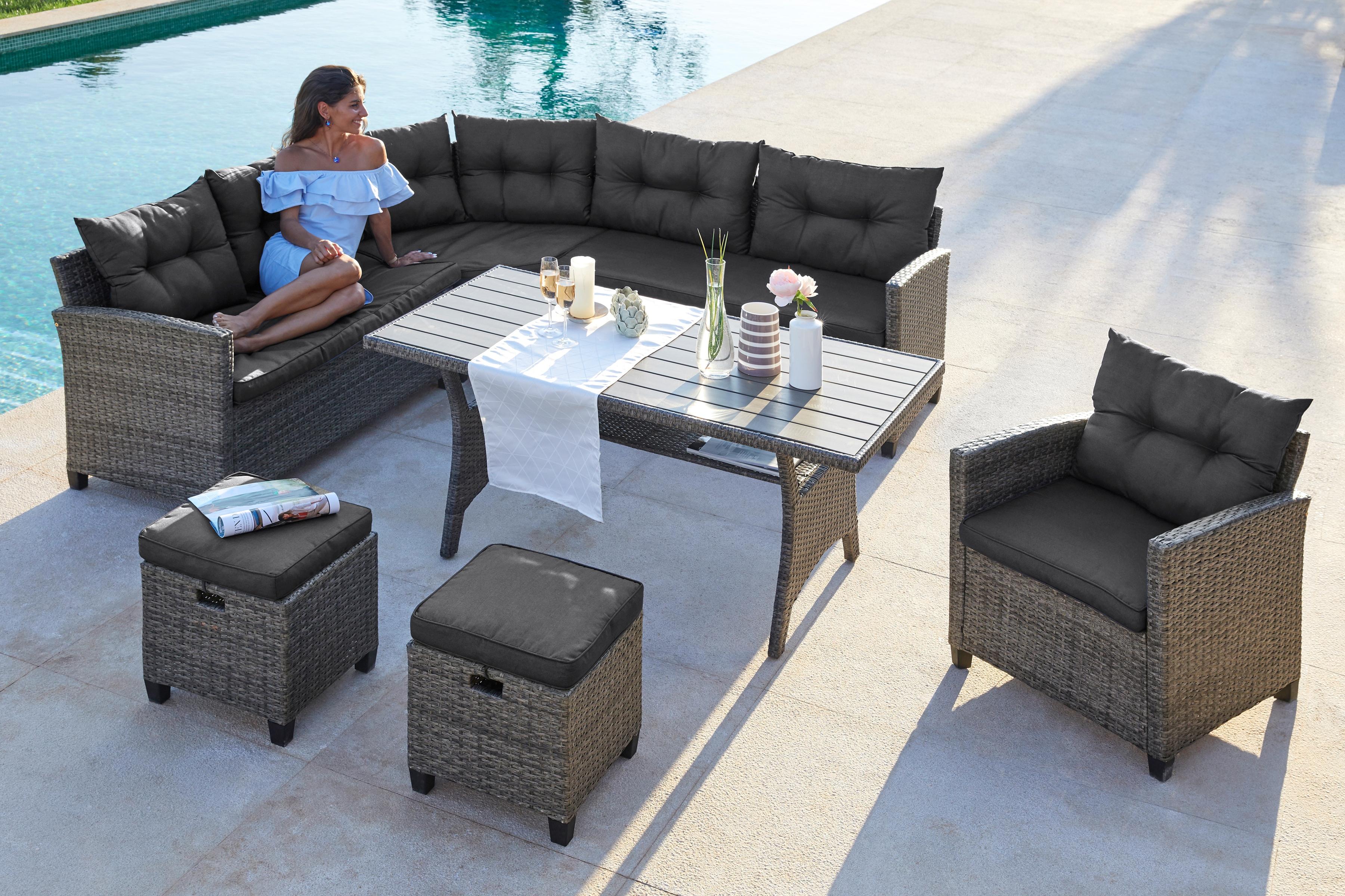 KONIFERA Loungeset Keros Premium 20-tlg Ecklounge 2 Hocker Sessel Tisch Polyrattan