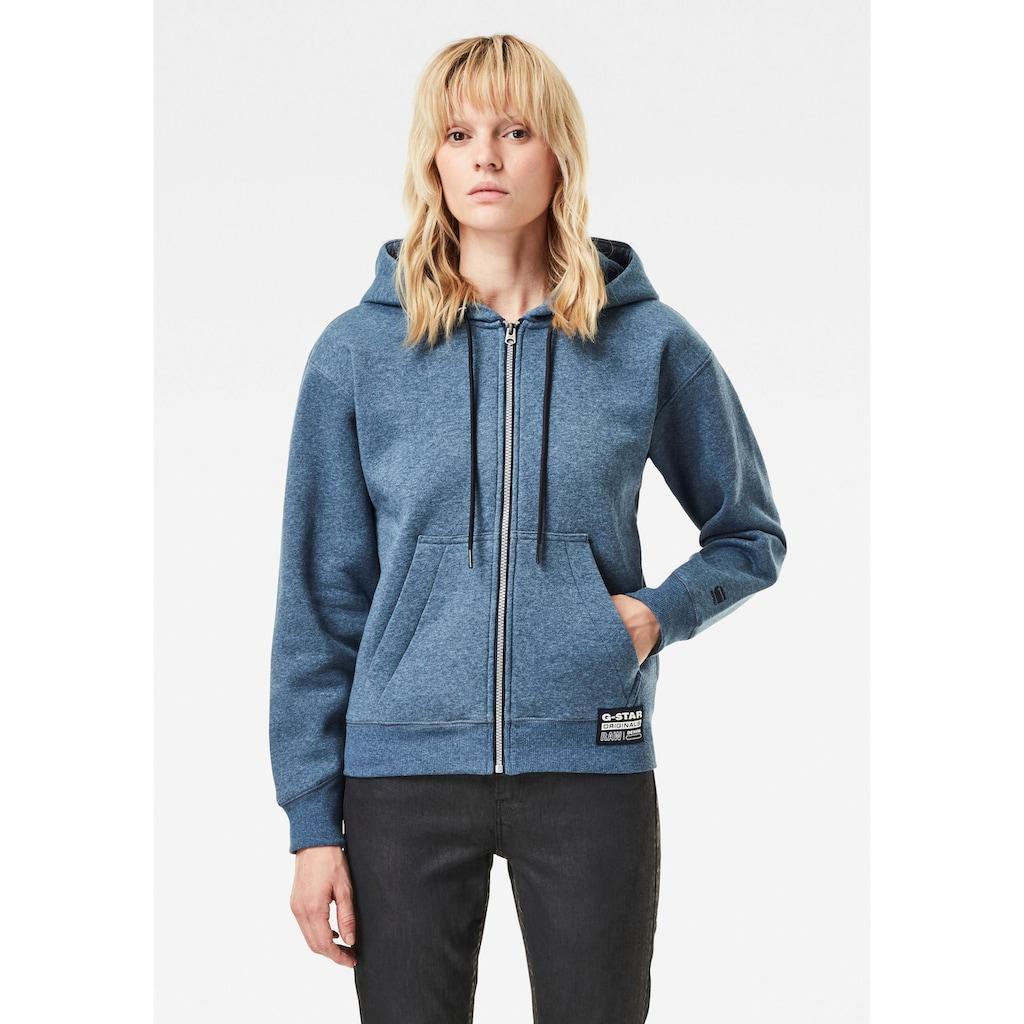 G-Star RAW Sweatshirt »Premium Core Hooded Zip Through Sweatshirt«, mit Kängurutasche und weite Kapuze mit Kordelzug