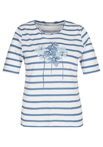 Rabe Rundhalsshirt, mit Glitzersteinen und Ringelmuster kaufen