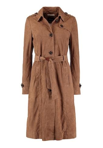 DNR Jackets Damen Ledermantel mit Bindegürtel und Knopfleiste kaufen