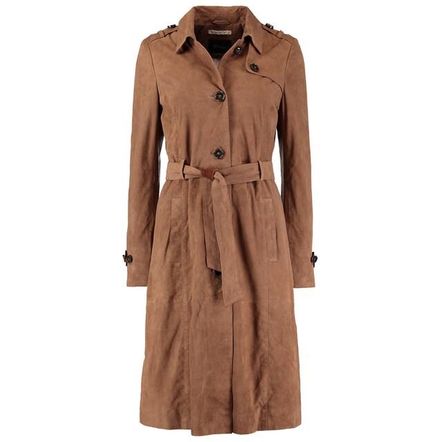 DNR Jackets Damen Ledermantel mit Bindegürtel und Knopfleiste