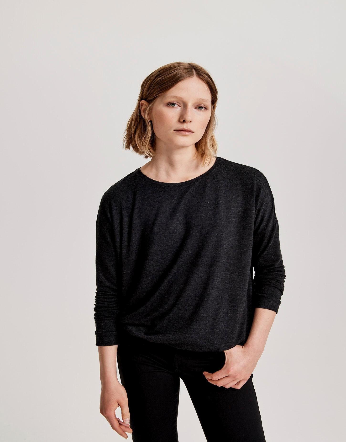 Opus Damen Sweatshirt mit Wasserfallausschnitt Sweat Langarm Longsleeve  40