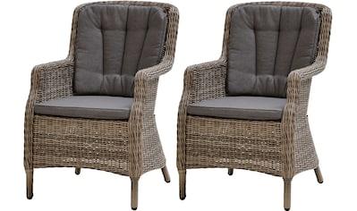 PLOSS Gartensessel »Miranda«, (2er Set), inkl. Sitz -  und Rückenpolster, Polyrattan/Alu kaufen