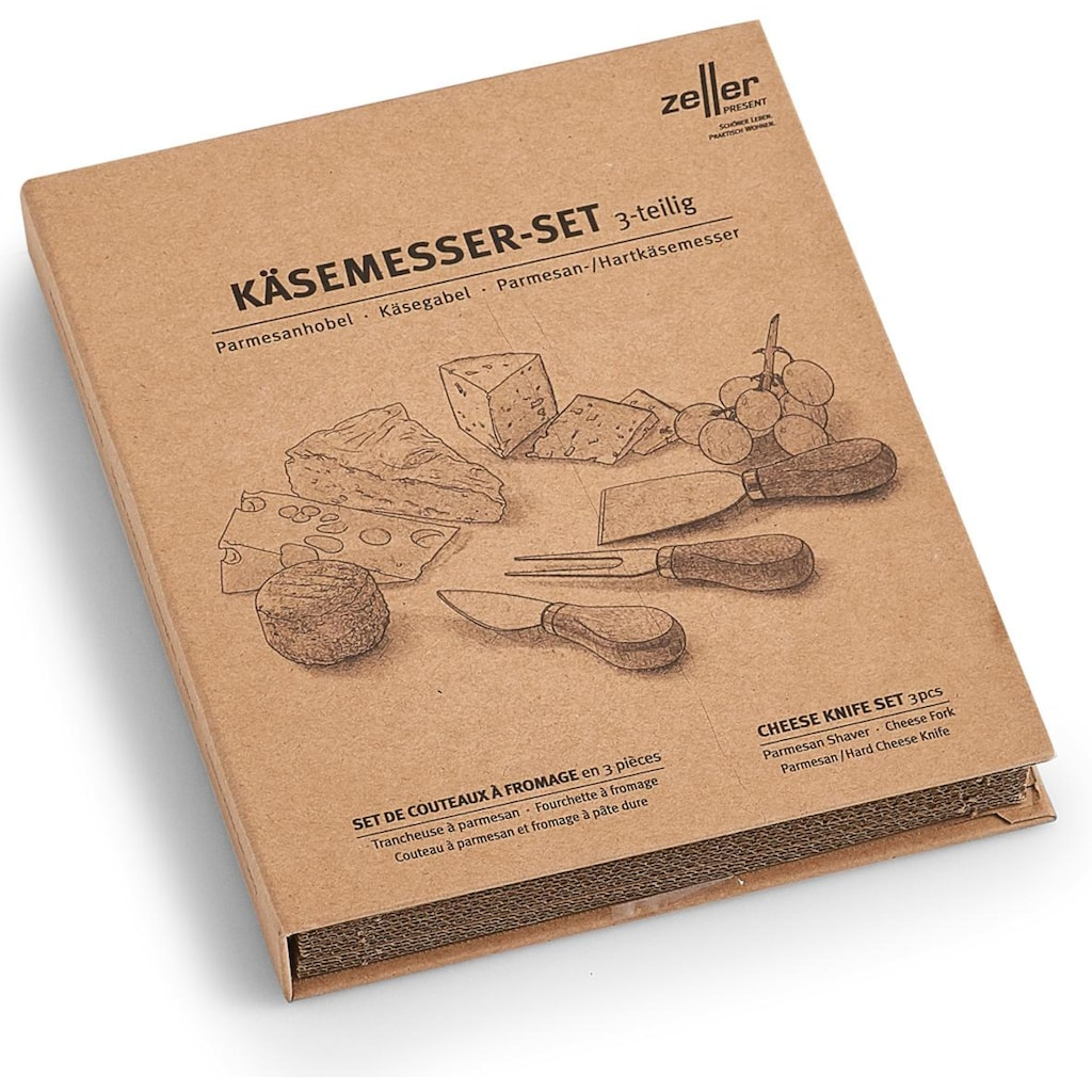 Zeller Present Käsemesser, (Set, 3 tlg., inkl. Geschenkbox), Griffe aus Akazienholz, für Käseliebhaber