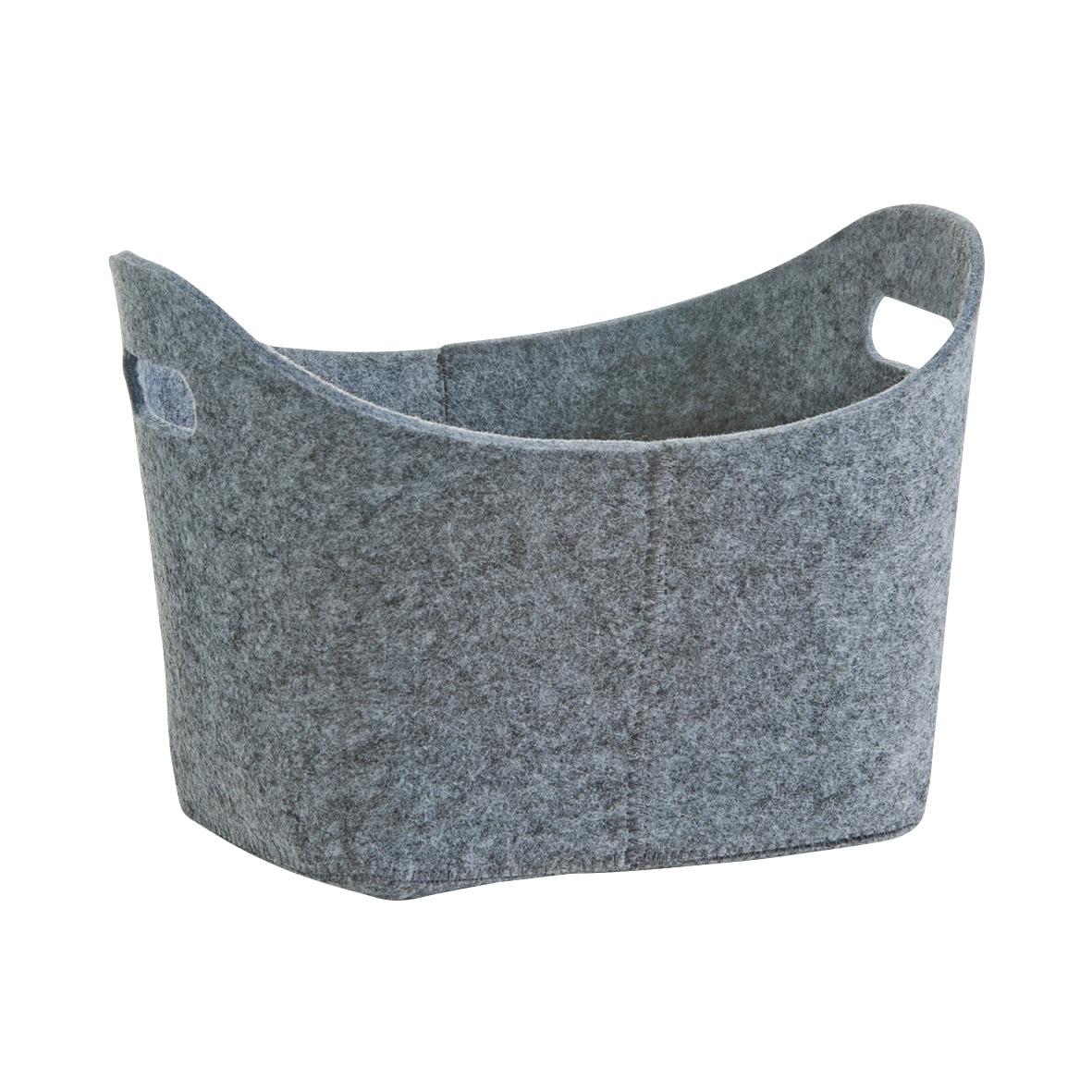Zeller Present Aufbewahrungskorb, oval, aus Filz grau Ablagen Aufbewahrung Bad-Accessoires Bad Sanitär Aufbewahrungskorb