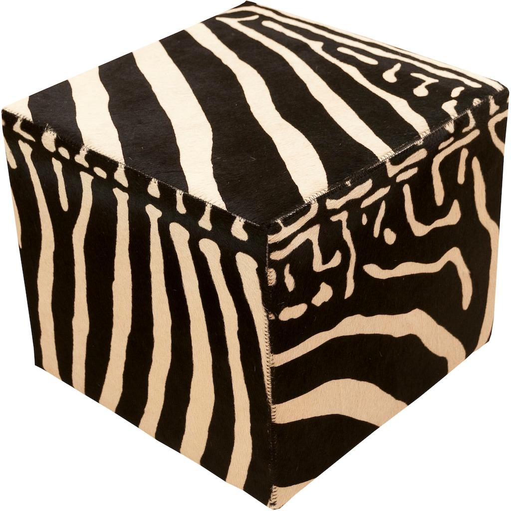 Trendline Sitzhocker »Pouf Zebra«, wohnlicher Fellhocker, eckig, handgefertigt, echtes Rinderfell, Zebra-Optik