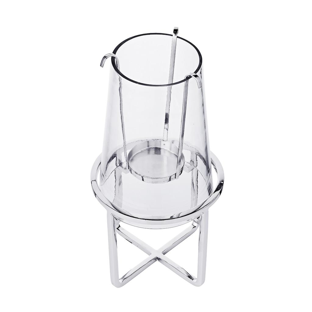 EDZARD Windlicht »Moll«, Laterne aus Glas und vernickeltem Messing, Kerzenhalter für Stumpenkerzen, Höhe 30,5 cm, Ø 15,5 cm