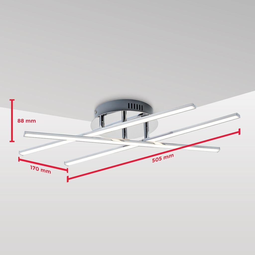 B.K.Licht LED Deckenleuchte, LED-Board, Warmweiß, LED Design Decken-Lampe modern Wohnzimmer chrom inkl. 12,5W 1150lm