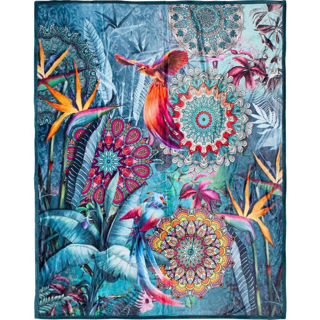 hip Plaid »Lovise«, mit Mandala und Vögeln